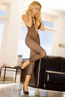ELECTRIC LINGERIE EH203-BLK Footless Halter Bodystocking body S/M čierna